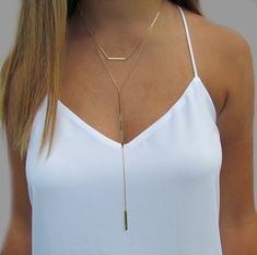 Cameron Diaz Bar Lariat Necklace, Double Bar Necklace, Long Bar Y Necklace- Sold Separately OR as a Set of 2 Necklaces Lariat Necklace, Necklace Set, Prom Necklaces, Silver Cleaner, Dainty Jewelry, Jewlery, Cameron Diaz, Gold Filled Chain, Layered Look