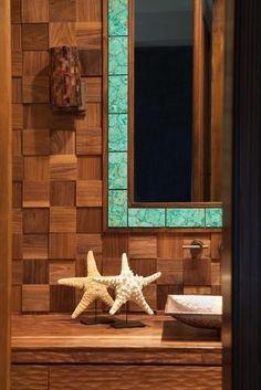 Beach House Decor: Bathroom  love the colored tiles around the mirror