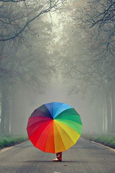 Somewhere Over the Rainbow by *meppol ~ umbrella Over The Rainbow, Love Rainbow, Taste The Rainbow, Rainbow Colors, Rainbow Things, Rainbow Story, Rainbow River, Rainbow City, Bright Colors