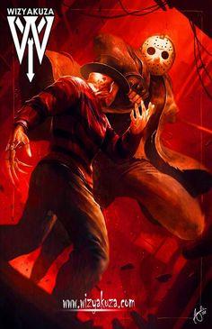 Wizyakuza Present's Freddy VS Jason Slasher Movies, Horror Movie Characters, Horror Artwork, Horror Icons, Classic Horror Movies, Cultura Pop, Scary Movies, Marvel, Creepy