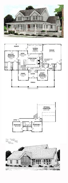 House Plan 68178 - Country, Farmhouse Style House Plan with 1980 Sq Ft, 3 Bed, 3 Bath, 2 Car Garage Country House Plans, Dream House Plans, House Floor Plans, My Dream Home, Farmhouse Plans, Farmhouse Style, Modern Farmhouse, Br House, Garage House
