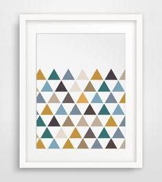 Geometric Print Triangle Print Orange Blue von MelindaWoodDesigns