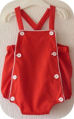 Barboteuse Théotime Boys romper in red with white trim