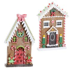 Gingerbread house decorations  flat design so they fit on a windowsill.  Flat profile also makes them easy to add to your Christmas tree or use as a back drop for a Christmas table top display