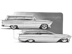Hrdp 9808 03 O+1950s Shoebox Concept Drawings+1955 Ford Ranch Wagon Concept