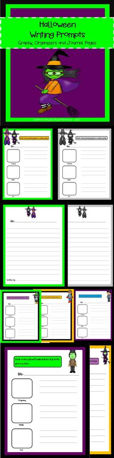This download includes a set of spooktacular writing prompts! Each writing prompt includes a graphic organizer and journal page. this set includes 15 prompts that are fun and silly. All students will love writing about a silly witch who lost her broom, a princess with a toothache and many more! Everything comes in color and black and white for easy printing.