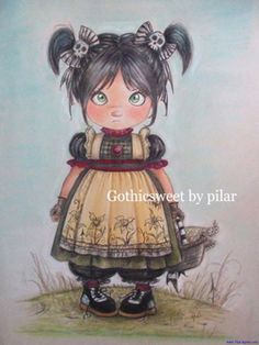 Little Gothic Sweet Girl with skull bows .  art and Imagination  for  children's  illustration  and  art print by Pilar Agrelo