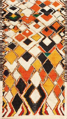 Colorful and Primitive Vintage Moroccan Rug 47936 Main Image - By Nazmiyal