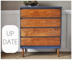 DIY TWO-TONE DRESSER: NAVY AND WOOD
