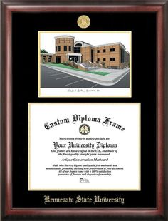 Kennesaw State University Gold embossed diploma frame with Campus Images lithograph