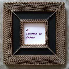 Cadre miroir en dentelle de carton et cuir noir : Décorations murales par ca-cartonne-en-couleur