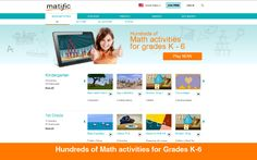 Matific develops mathematical excellence and problem solving skills through playful interaction. Matific catalog features hundreds of math games and activities for ages 4-11, organized according to national math teaching programs and popular textbooks.