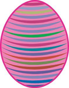 17 Free Easter Egg and Easter Basket Clip Art Designs: Pink Striped Easter Egg