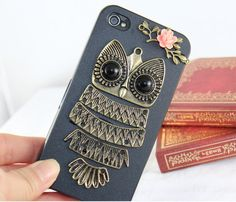 Antique brass Cute  Owl  with pink rose ,branch Hard Case Cover ----for Apple iPhone 4 Case, iPhone 4s Case, iPhone 4 Hard Case