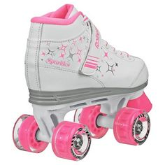 Roller Derby Girls' Sparkle Quad Skates with Lighted Wheels - White/Pink 12, Pink White