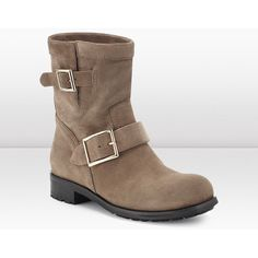 Jimmy Choo Youth Taupe Suede Biker Boots ($950) ❤ liked on Polyvore