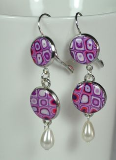 Purple violt pink white polymer clay design hanging by NuritNaor, $38.00