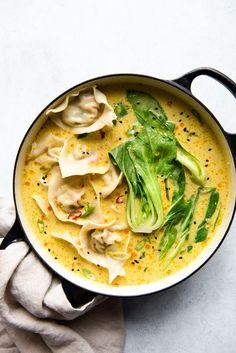 Tofu Wontons with Yellow Curry Broth