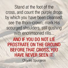 Stand at the foot of the cross, and count the purple drops by which you have been cleansed; see the thorn-crown; mark His scourged shoulders, still gushing with encrimsoned rills… And if you do not lie prostrate on the ground before that cross, you have never seen it. -Charles Spurgeon