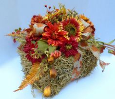 Fall Floral Arrangement on Bale of Hay Rustic by NaturesTrueArt