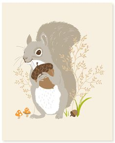 Perfect for our woodland themed nursery - squirrel woodland art print by SeaUrchinStudio on Etsy Woodland Art, Woodland Theme, Woodland Nursery, Squirrel Illustration, Illustration Art, Woodland Illustration, Woodland Creatures, Woodland Animals, Squirrel Art