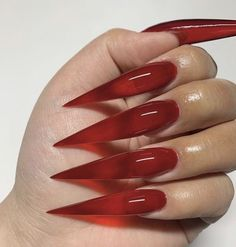 Red Stiletto Nails, Bling Acrylic Nails, Pointed Nails, Witchy Nails, Sharp Nails, Jelly Nails, Claw Nails, Fire Nails, Birthday Nails