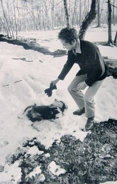 "rollingwithjudas: ""Bob Dylan playing with his dog in the snow. :) """