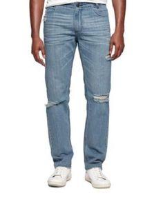 CALVIN KLEIN NEW $98 SLIM FIT STRAIGHT LEG RIPPED JEANS sz 32 X 32 #CalvinKlein #SlimSkinny