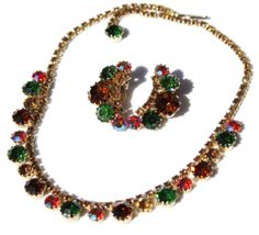 Weiss Rhinestone Parure Set Colorful by EmbellishgirlVintage, $145.00