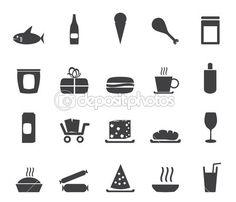 Silhouet winkel en levensmiddelen pictogrammen - vector icon set