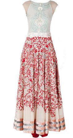 Pink anarkali with red silk applique by VARUN BAHL. http://www.perniaspopupshop.com/designers-1/varun-bahl