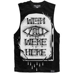 Wish you were here tank (€40) ❤ liked on Polyvore featuring tops, shirts, tank tops, cotton shirts, jersey tank, muscle t shirt, crew shirt and muscle tshirt