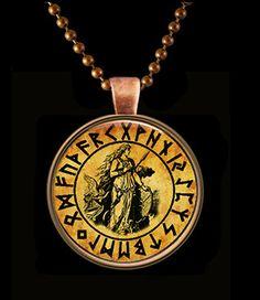 Freya Norse Goddess Glass Art Pendant with Matching Chain   KeukaSigns - Jewelry on ArtFire
