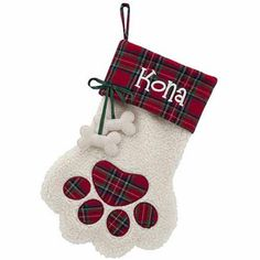 Personalized Red Plaid Cuff Paw Dog Bone Christmas Stocking