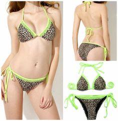 GIRL GYPSY BIKINI Green Lace Leopard Print Removable Padding Adjustable Side Ties Bikini Swimsuit - 2 piece