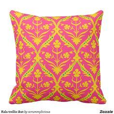 Kala trellis ikat pillow #pink #yellow #pillow #zazzle #boho #ikat #trellis