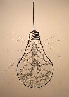 "What if there was a tiny lighthouse inside of every light bulb?What if there was a tiny lighthouse inside of every light bulb? lightbulb drawing lighthouseAffiche Illustration Noir et blanc ampoule ""tenir une Pencil Art Drawings, Art Drawings Sketches, Cute Drawings, Light Bulb Drawing, Light Bulb Art, Lighthouse Drawing, Lighthouse Art, Landscape Drawings, Doodle Art"