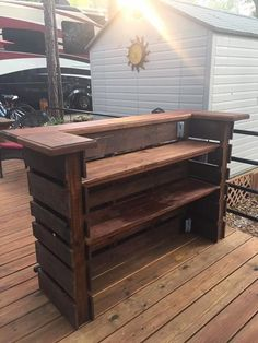 Pallet Shelves Projects Pallet Bar, Tiki Bar, Attention To Detail, Made Like No Other, Comes With Serving Top Bar En Palette, Palette Deco, Diy Pallet Projects, Pallet Ideas, Wood Projects, Garden Projects, Diy Bar, Bar Furniture, Pallet Furniture