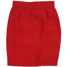 Pre-owned Thierry Mugler Red Quilted Skirt ($169) ❤ liked on Polyvore featuring skirts, thierry mugler, red vintage skirt, red knee length skirt, red skirt and vintage skirts