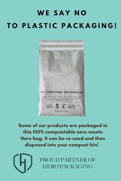 One of the brands we partnered with to help protect the environment is Hero Bag. These bags are 100% compostable zero-waste and can be re-used and then disposed into your compost bin! Plastic Packaging, Brand Story, Yet To Come, Crop Tee, Compost, Active Wear, Hero, Sayings, Zero Waste