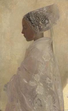 'A Maiden in Contemplation' - 1893 - by Gaston La Touche (French, 1854-1913) - @~ Watsonette