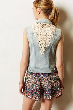 How 'bout a DIY inspired by this #Pilcro Laced Denim Vest from #Anthropologie?