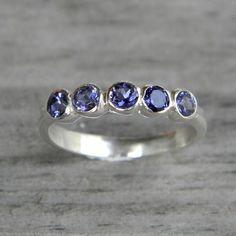 Iolite Gemstone Ring  Anniversary Band Sterling by onegarnetgirl, $248.00