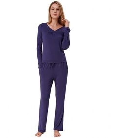Women s Pajama Set Cotton Sleepwear Long Sleeve Shirt with Pants - Navy  Blue - CA186T8TMSE 70f19d726
