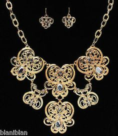 Vintage Inspired Filigree Bib Necklace & Earrings Set, Acrylic Beads & Crystals