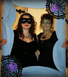 Make your own Halloween Photo Booth Frame from a 22x48 piece of foam core board and 2 felt spider webs from Dollar Tree - Easy and quick!