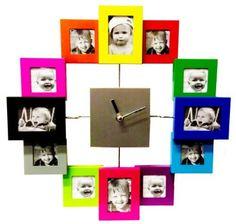 Designer Habitat - Family Time Photo Frame Clock Brushed Aluminium Multi Colour, Holds 12 Photos by Designer Habitat, http://www.amazon.co.uk/dp/B007TUYEEM/ref=cm_sw_r_pi_dp_p49Orb1NVSCE0