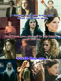 Heroines of our age Tina (FBAWTFT) Ginny (HP) Susan (Narnia) Lucy (Narnia) Diana (Wonder Woman) Katniss (THG) Tris (Divergent) Hazel (Fault in our stars) Hermione (HP) Galadriel (LOTR) Tauriel (Hobbit) Eowin (LOTR) Arwen (LOTR)