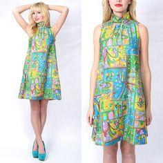 Vintage 60s 70s Neon Floral Hippie Shift Dress A Line Psychedelic Mini s M L | eBay