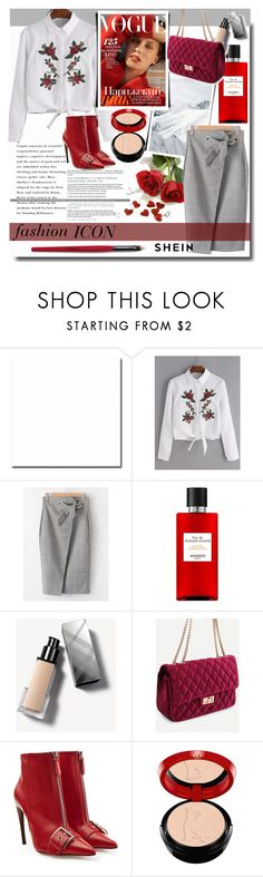 """""""Fashion ICON /SHEIN"""" by fashiondiary5 ❤ liked on Polyvore featuring Hermès, Burberry, Alexander McQueen, Giorgio Armani and shein"""